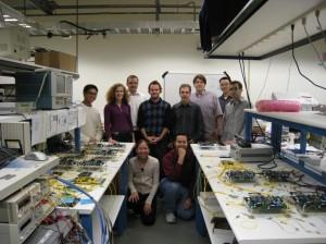 Back row: Howard Wang, *Prof. Keren Bergman (PI), *Dr. Franz Fidler, Gilbert Hendry, Prof. Gil Zussman, Dan Brunina, *Michael Wang, Noam Ophir Front row: *Caroline Lai, Ajay Garg (*Main researchers on project)
